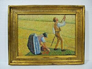 ANTIQUE OIL ON CANVAS BY CAMILLE PISSARRO 1897 WITH FRAME IN GOLDEN LEAF NICE