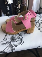 🌈 Topshop Pink Light Cork Strappy Block Heel Sandals Size 8