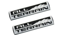 2x All Terrain Emblem Badge 3D Nameplate Logo Decal For GMC Sierra Chrome Black