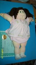 cabbage patch soft sculptured doll 1984 ed turquoise girl w/birth cert
