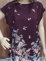 Ex F&F Ladies Wine Floral Print Drop Back Tunic Top Size 10 - 22
