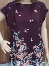 Ex F&F Ladies Wine Floral Print Drop Back Tunic Top Size 10 - 22