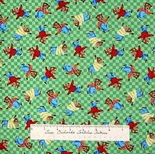 Nursery Baby Fabric - Three Bears Toss on Green Blocks - Windham Cotton YARD