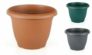 Plastic Round Garden Flower Plant Pot Planters - 6 Sizes Anthracite Green Terra