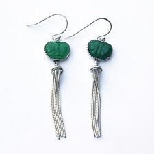 Noble Jewel Green Jade Butterfly With Tassel 925 Sterling Silver Earrings