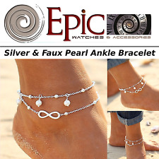 Epic Fashion-Faux Pearl- Silver Alloy Anklet Bracelet