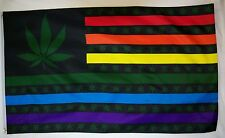 Rainbow USA Marijuana Flag 3' X 5' Indoor Outdoor Multi Color Banner