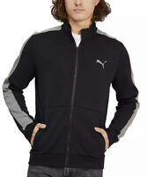 Puma, Men's Full Zip Track Jacket Cardigan Size L Black /Gray side pockets new