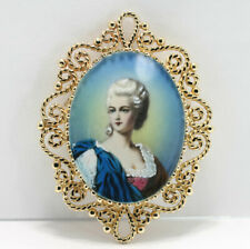 Vintage hand painted portrait cameo pin brooch pendant 14K yellow gold 12.9 GM