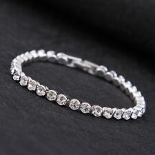"4mm Roman White Crystal Tennis Bracelet Women's Gift White Gold Plated Chain  7"""