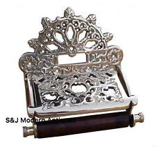 Insolito Vittoriano Vintage Retrò WC Portarotolo cromato argento piastra decorata