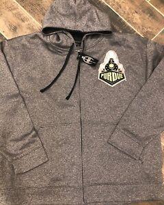 Champion Elite Purdue Boilermakers Gray Fleece Full-Zip Hoodie New 2XL