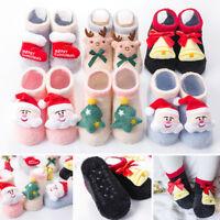 Infant Newborn Baby Boy Girl Cartoon Christmas Xmas Winter Step Shoes Warm Sock