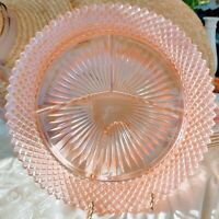 Antique Anchor Hocking Miss America Pink Depression Glass Divided Grill Plate