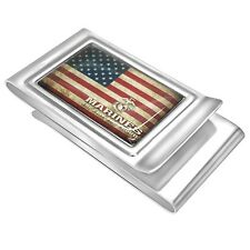 Quality Custom Made Double Sided Money clip with American Flag and Marines Logo