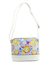 Girls Women Small Zip Top Floral Patern Shoulder Cross Body Tote Bag Lilac White