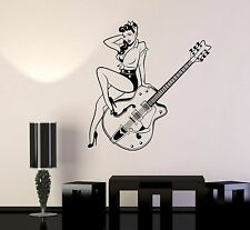 Vinyl Wall Decal Pin Up Style Retro Girl Guitar Music Stickers (976ig)