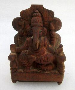 Antique Old Rare Wood Primitive Tribal Folk Art Worship Hindu God Ganesha Statue