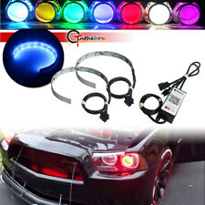 Wireless RGB 12-SMD LED Demon Eye Halo Ring Projector Headlights Kit APP Control