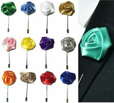 Rose Flower Corsage Boutonniere Stick Silky Lapel Buttonhole Grooms Wedding UK