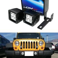 20W CREE LED Pod Driving Lamps w/ Front Grille Mounts Wiring For Jeep Wrangler