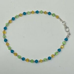 """Handmade Anklet Blue Green Yellow Faceted Round Glass Beads Silver Tone 9"""""""