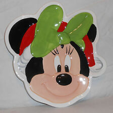 DISNEY  MINNIE CERAMIC CHRISTMAS HOLIDAY SERVING PLATE  NEW