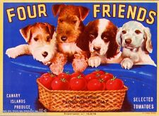 Canary Islands Airedale Terrier Cocker Spaniel Dog Tomato Crate Label Art Print