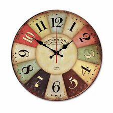 12 Inch Retro Wooden Wall Clock Farmhouse Decor, Silent Non Ticking Wall Clocks