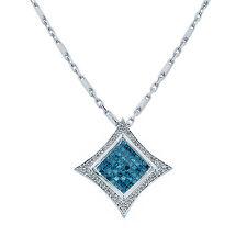 14K White Gold Diamond Pendant  18 Inch Chain  1.25ct TDW