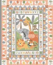 Makower Jungle Friends - Peach - Cot Quilt Craft Panel - Cotton Fabric