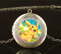Vintage Pokemon Pikachu Photo Cabochon Glass Brass Locket Pendant Necklace