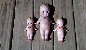 rose o neill kewpie dolls. Lot of three