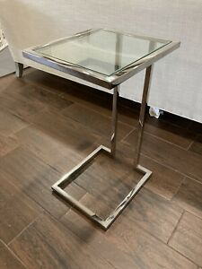 Mitchell Gold Bob Williams Vienna Pull Up Side Table - Polish Stainless Steel