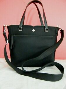 NWT KATE SPADE NEW YORK SPADE JAE BLACK MEDIUM NYLON SATCHEL/BAG WKRU6512