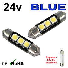2 x Blue 24v 39mm Festoon Interior Plate Light 242 C5W 3 SMD Bulbs HGV Truck