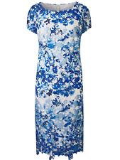 Together Plus Size 22 Guipure Lace Floral Shift DRESS Blue White Wedding £85