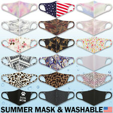 Summer Face Mask - Washable Lightweight Breathable Spandex Unisex Adult Fashion