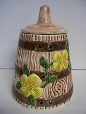 Vintage Yellow Flower Wooden Barrel Look Butter Theme Churn Cookie Jar