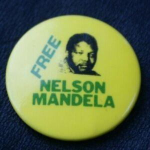 Campaign FREE NELSON MANDELA Vintage Pin Badge