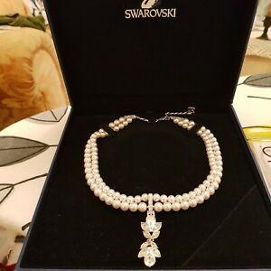 Swarovski Pearl Necklace with Diamante Pendant stunning retired