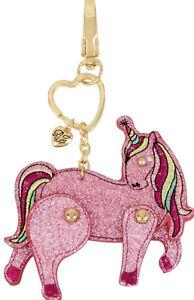 NWT-Box $35 BETSEY JOHNSON Pink Glitter Unicorn Key Fob Key Chain - Bag Charm