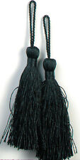 "E5524  TASSELS SET OF TWO (2) BLACK FIBER 3.75"" CRAFTS SEWING EMBELLISHMENTS"