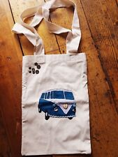 Large hand sewn canvas tote bag embroidery VW campervan- cornwall camping