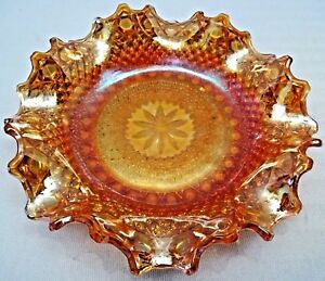 VINTAGE CARNIVAL GLASS BOWL FRUIT DISH GLASS BEADED DIAMOND CUT COLLECTIBLES