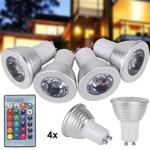 4x 4W GU10 RGB LED Spot Birne Farbwechsel IR Fernbedienung Lampe Licht