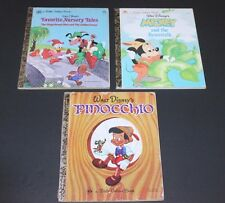 Vintage 1970's Little Golden Books DISNEY MICKEY MOUSE And PINOCCHIO LOT Of 3!!