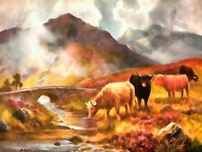 HIGHLAND CATTLE OILETTE 1935 A SCOTTISH RIVER A PRINT ONLY ART POSTER HP3739
