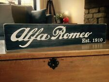 Alfa Romeo Sign Car Vintage Old Look Garage Gift Plaque Wood Hand Made