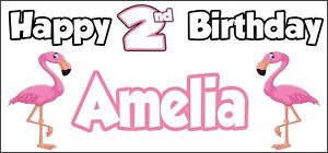 Flamingo 2nd Birthday Banner x 2 Party Decorations Girls Boys Daughter ANY NAME